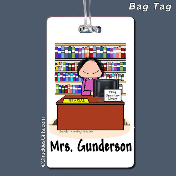 Librarian Bag Tag Female Personalized