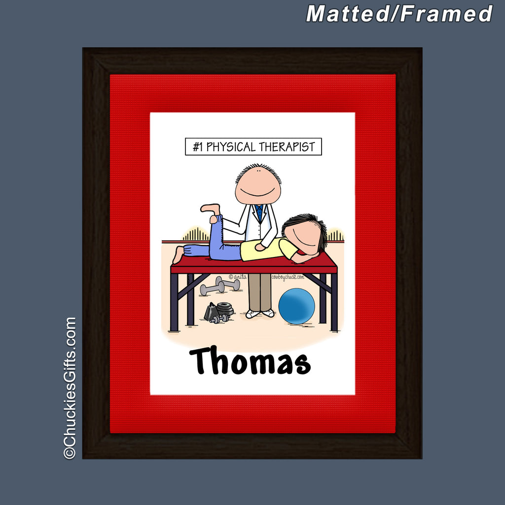 Physical Therapist Framed Mini Cartoon Male Personalized