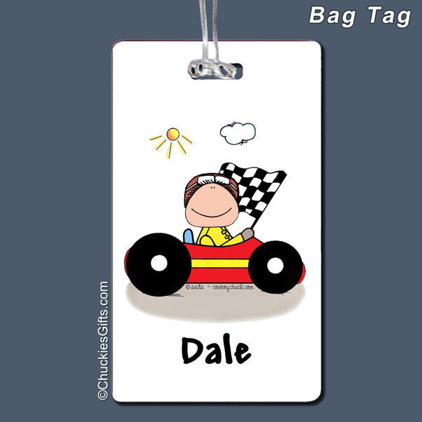 Race Car Driver Bag Tag Male Personalized