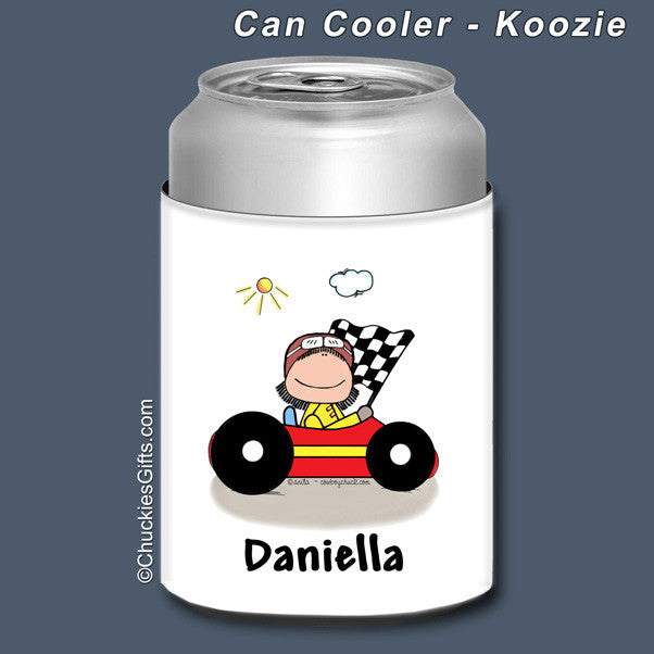 Race Car Driver Can Cooler Female Personalized