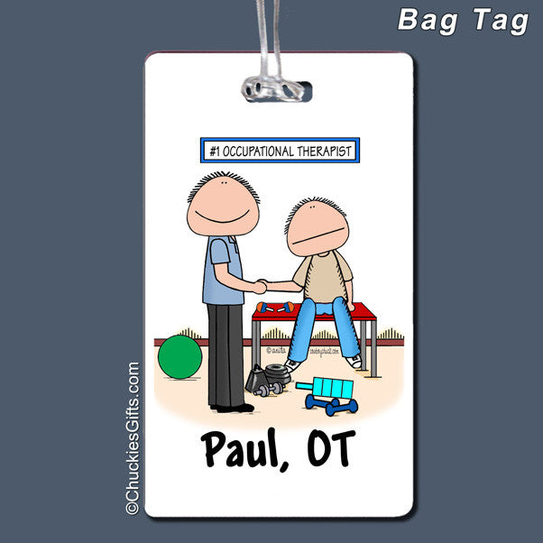 Occupational Therapist Bag Tag Male Personalized