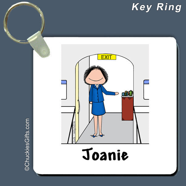 Flight Attendant Key Ring Female - Personalized 2269