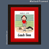 Baseball Coach Mat/Frame Female Personalized