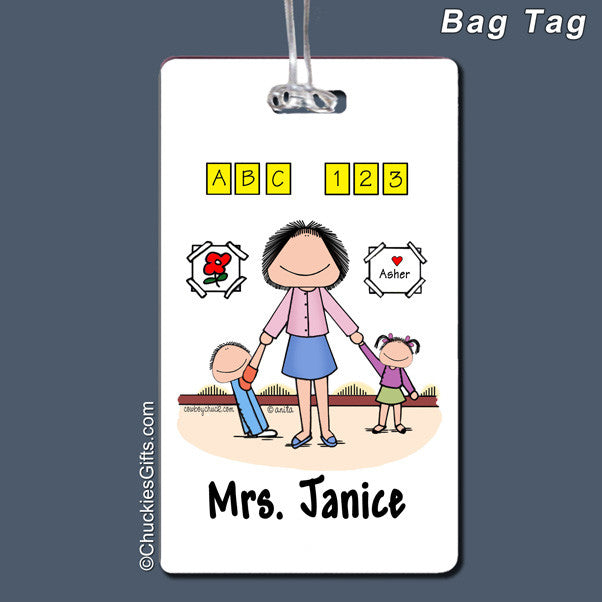 Day Care PreSchool Bag Tag Female Personalized