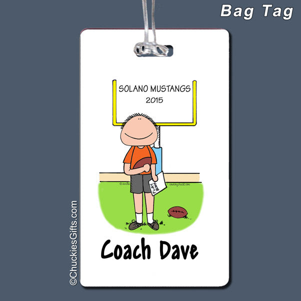 Football Coach Bag Tag Male Personalized
