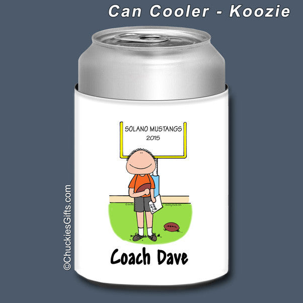 Football Coach Can Cooler Male Personalized