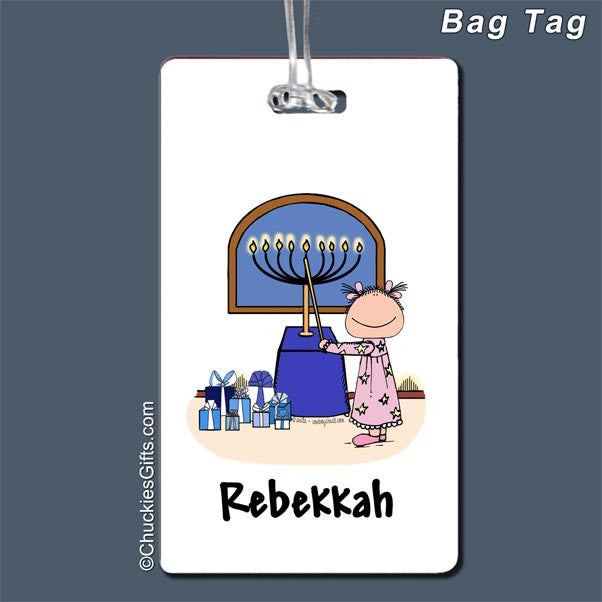 Hanukkah Bag Tag Female - Personalized 2335