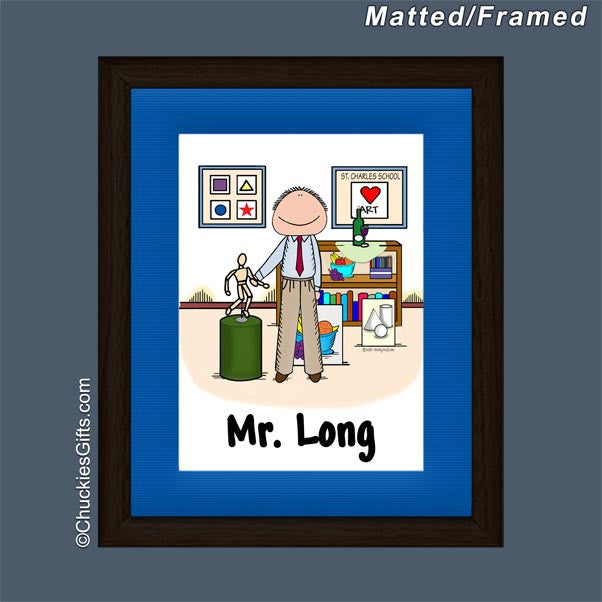 Art Teacher Framed Mini Cartoon Male - Personalized 2344