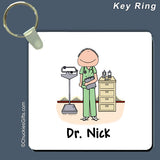 Doctor / Nurse in Scrubs Key Ring Male Personalized