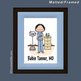 Doctor / Nurse in Scrubs Mat/Frame Female Personalized