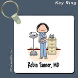 Doctor / Nurse in Scrubs Key Ring Female Personalized