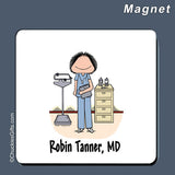 Doctor / Nurse in Scrubs Magnet Female Personalized