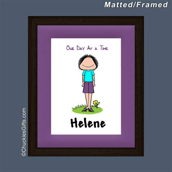 One Day at a Time Framed Mini Cartoon Female - Personalized 2435