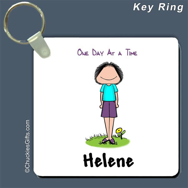 One Day at a Time Key Ring Female - Personalized 2435