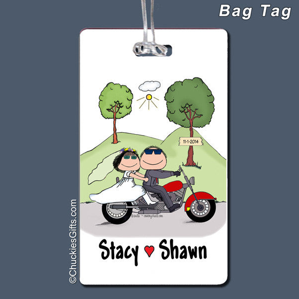 Motorcycle Wedding Bag Tag Personalized