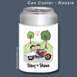 Motorcycle Wedding Can Cooler Personalized