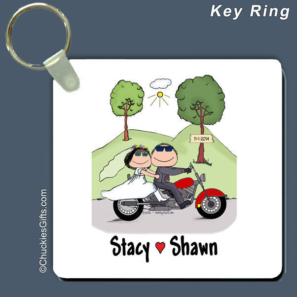 Motorcycle Wedding Key Ring Personalized