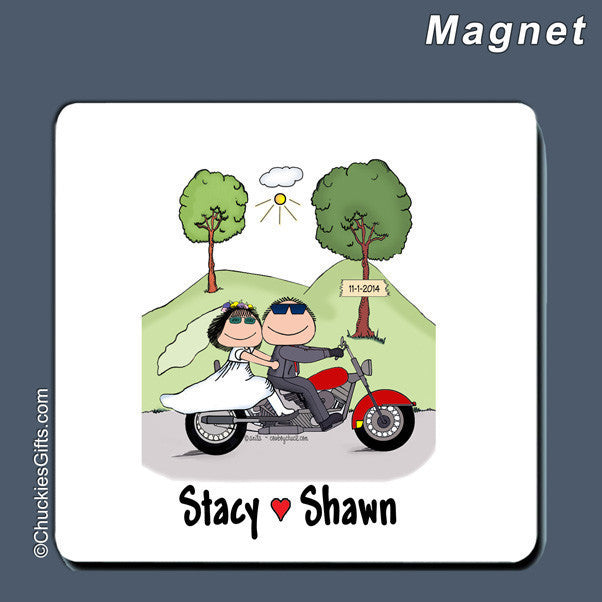 Motorcycle Wedding Magnet Personalized