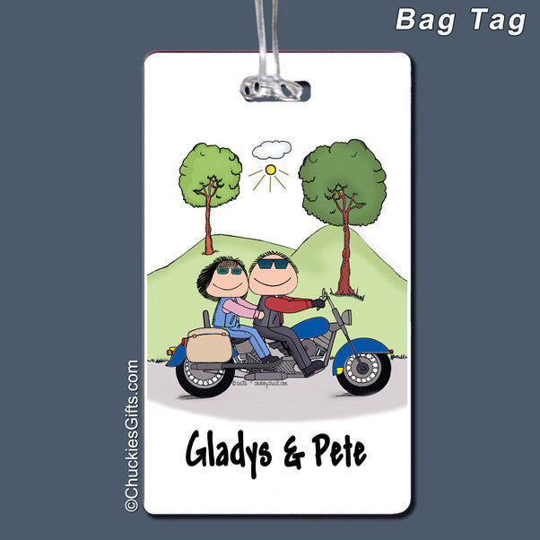 Motorcycle Couple Bag Tag Personalized