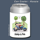 Motorcycle Couple Can Cooler Personalized