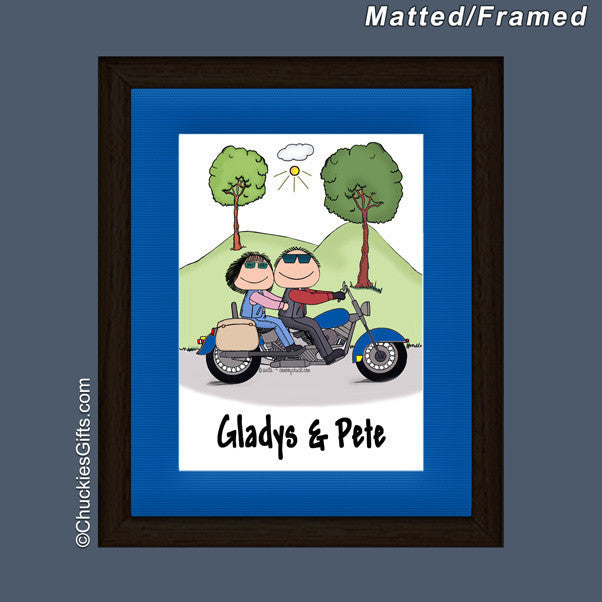 Motorcycle Couple Mat/Frame Personalized