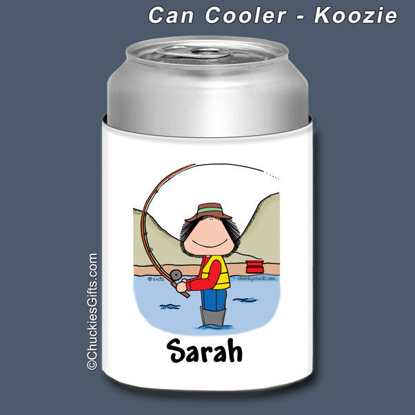 Fishing Can Cooler Female Personalized