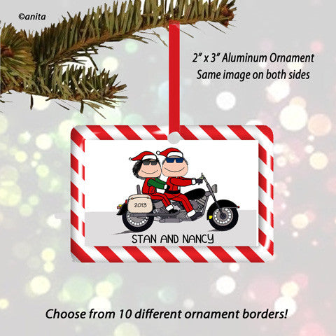 Motorcycle Santa Couple Ornament