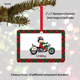 Motorcycle Santa Female Christmas Ornament Personalized
