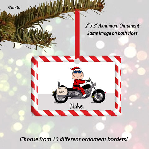Motorcycle Santa Single Rider Ornament