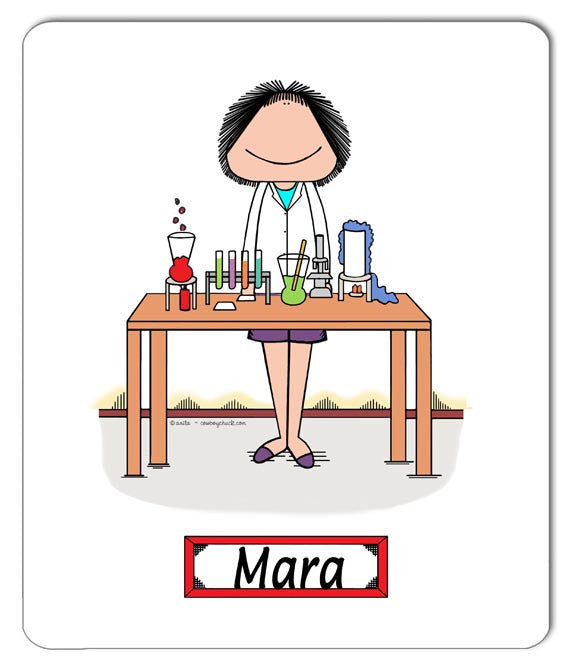 Lab Worker / Science Teacher Mouse Pad Female - Personalized 8027