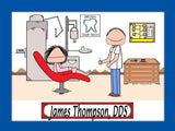 Dentist Cartoon Picture Male Personalized 8032