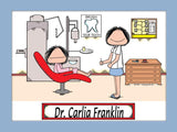 Dentist Cartoon Picture Female Personalized 8033
