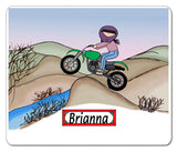 Dirt Biker Mouse Pad Female - Personalized