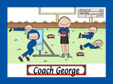 Football Coach Cartoon Picture Male Personalized 8048