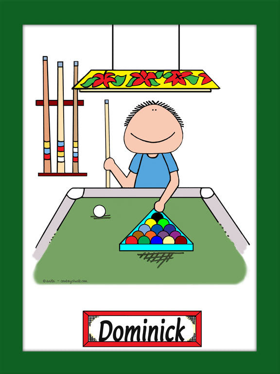 Pool Player Cartoon Picture - Male Personalized 8054