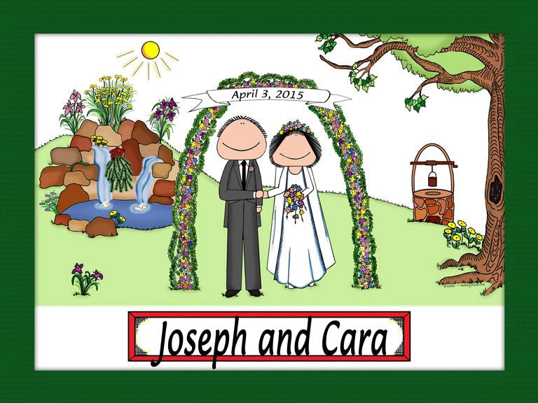 Wedding with Waterfall Cartoon Picture