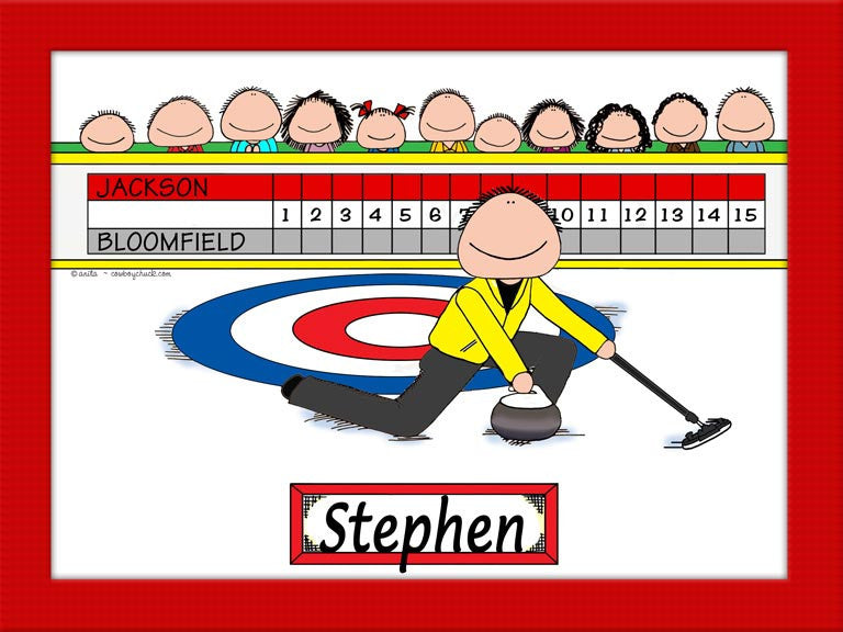 Curling Cartoon Picture Male - Personalized 8122