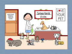 Veterinarian Cartoon Picture Female Personalized 8125