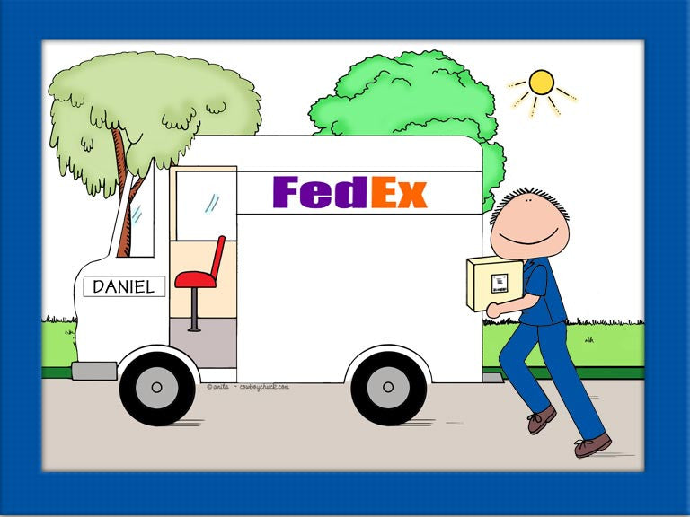 Package Delivery Cartoon Picture Male - Personalized 8136
