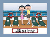 Cruise Ship Vacation Cartoon Picture Couple Personalized 8150