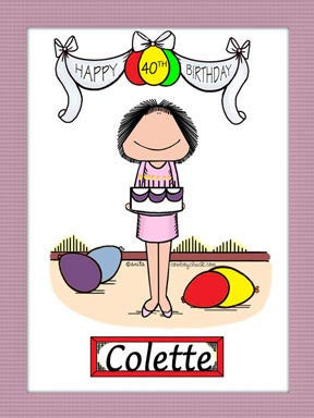 Birthday Cartoon Picture Female - Personalized 8151