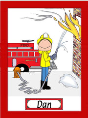 Firefighter Cartoon Picture Male - Personalized 8164