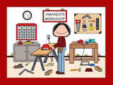Carpenter Cartoon Picture Female - Personalized 8167