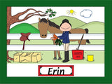 Horse Lover English Cartoon Picture Female - Personalized 8169