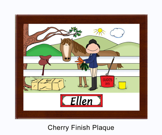 8169 English Style Horse Lover Plaque Female - Personalized