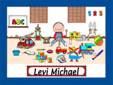 Kid's Room Cartoon Picture Male - Personalized 8176