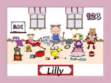 Kid's Room Cartoon Picture Female - Personalized 8177