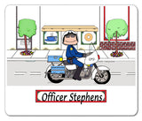 8207 Motorcycle Officer Mouse Pad Female - Personalized