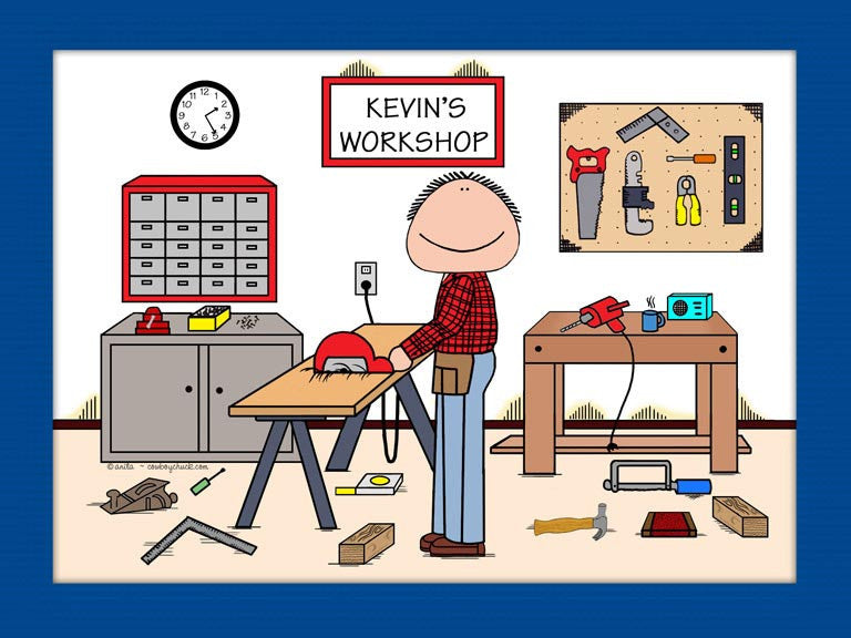 Carpenter Cartoon Picture Male - Personalized 8210