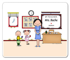 #1 Teacher Mouse Pad Female Personalized